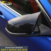 GELINSI real carbon fiber rearview mirror cover trim Sticker Cover Accessories For BMW 3 series F30 2018 Auto Car