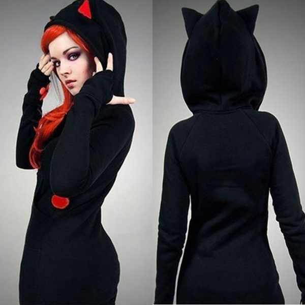 Women Cute Cat Ear Hooded Slim Long Sleeve Pure Color Warm Jacket Tops Cosplay Costume HY844