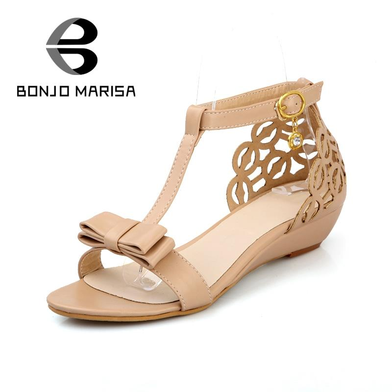 Large size 33-43  Cute New arrival High quality Rhinestone Fretwork Elegant Sweet Summer shoes Buckle Strap women Wedge sandals brand new sale fashion low fretwork heels rhinestone women party shoes elegant sweet ankle buckle strap lady top quality sandals