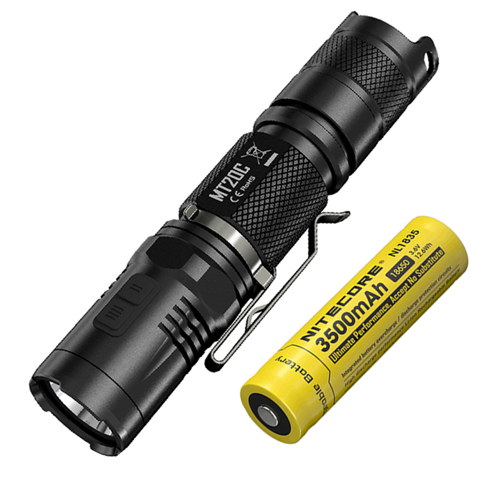 LED Outdoor Flashlight NITECORE MT20C CREE XP-G2 (R5) max. 460 lumen small size torch + 18650 3500mAh rechargeable battery 2018 nitecore nu25 3xled rechargeable headlamp 360 lumen triple outputs lightweight headlight flashlight outdoor running cycling