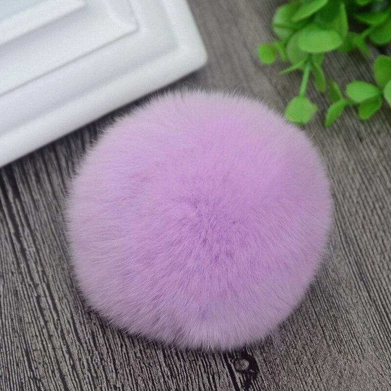 8cm Nature Genuine Rex Rabbit Fur Ball Pom Pom Fluffy DIY Winter Hat Skullies Beanies Knitted Cap Pompoms  TKF001-lavender