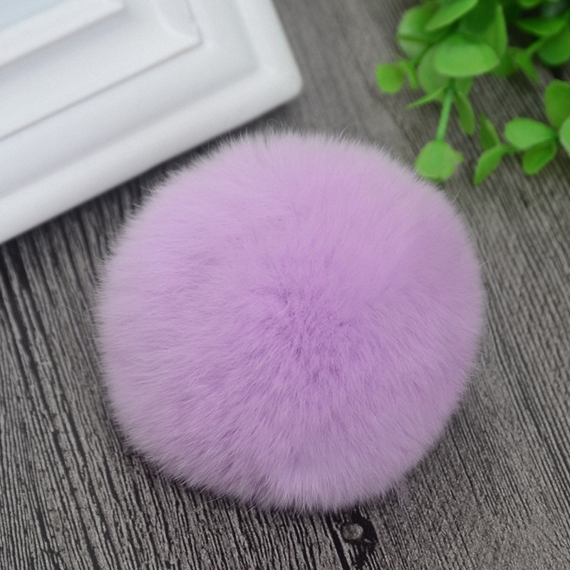 8cm Nature Genuine Rex Rabbit Fur Ball Pom Pom Fluffy DIY Winter Hat   Skullies     Beanies   Knitted Cap Pompoms TKF001-lavender
