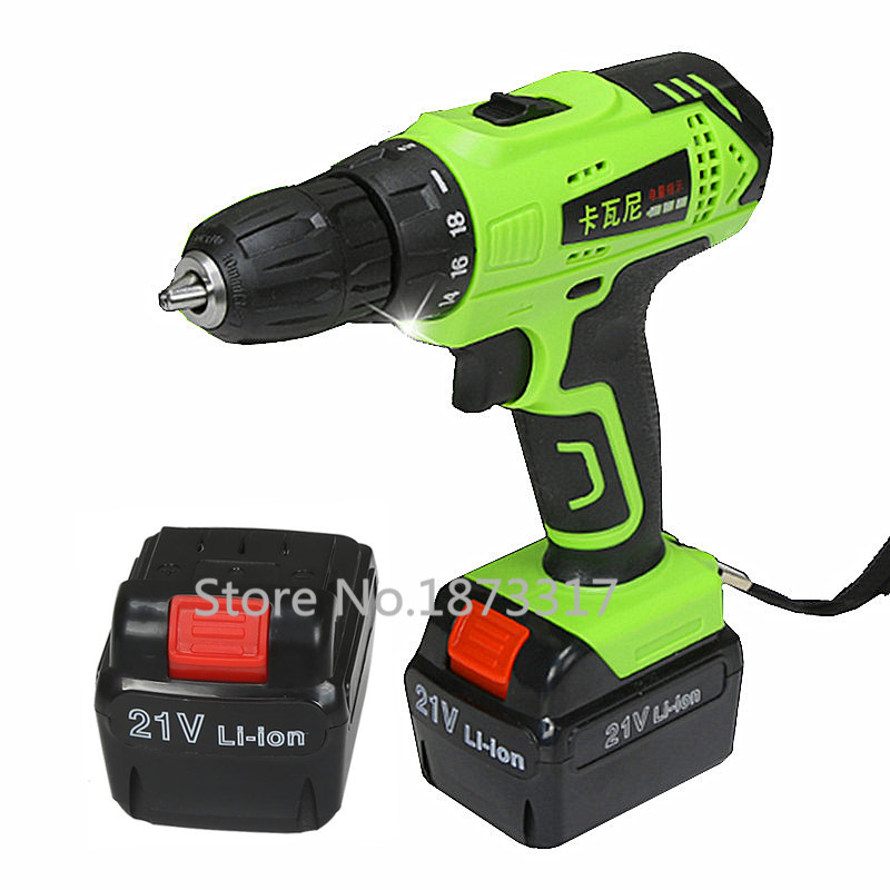 21V Electric Drill Household Multi function Electric Screwdriver Double Speed Lithium Cordless Drill Power font b