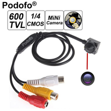 Podofo 600TV 170 degree super small color video camera with audio Line HD Tiny Mini Security CCTV Pin Hole Camera(China)