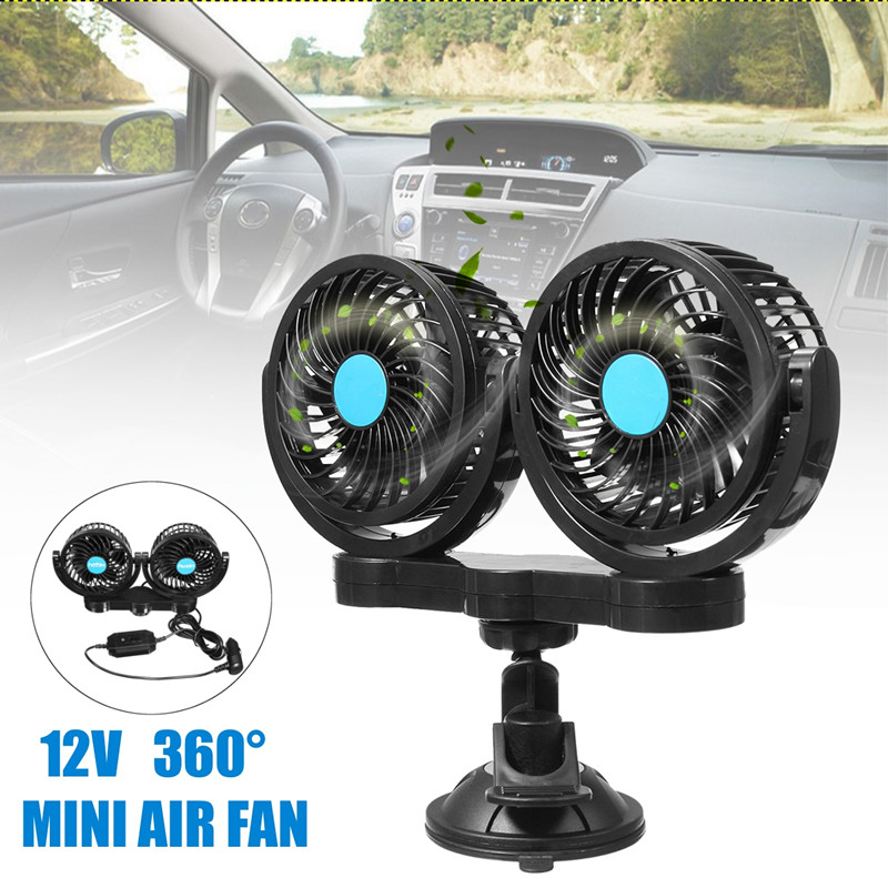 12V All-Round Two Speeds Mini Auto Air Powered Cooling Fan Low Noise For Car Truck Tent RV Sleeper Cab SUV ATV Delivery Van