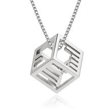 Fashion brand female silver  jewelry Morse code necklace pendant personalized simple Rubik cube chain