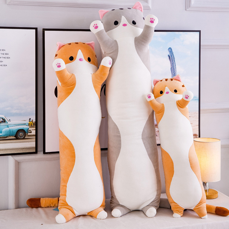Kawaii Cats Plush Toys Animals Fat Cat Doll Long Style Plush Long Pillow Sleep Stuffed Animals Children Toys Girl Birthday Gift