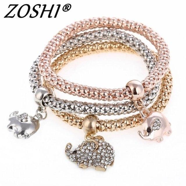 New 3Pcs Gold/Silver Plated Crystal Owl Charm Bracelets For Women Elephant Anchor Bracelet Multilayer Bangles pulseira feminina