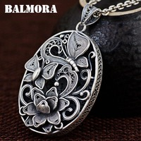 BALMORA 100 Real 990 Pure Silver Vintage Butterfly Flower Pendants For Women Mother Gifts Jewelry Without