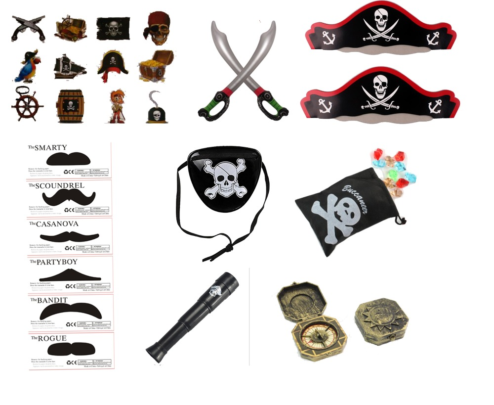 Freeship Cheap Fun 14X PIRATE Of The Caribbean Theme Party Cosplay Props Toy Assortment Favors Loot Bag Pinata Fillers For Kids