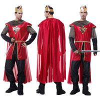 Adult King Costume Christmas Carnival Halloween Masquerade Rome Man Fancy Dress Medieval Warrior Prince Cosplay Clothes