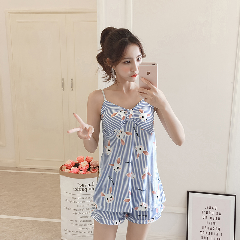 Hot Sale 2019 Summer New Women Pajamas Suit Sexy Home Sleepwear Shortless Sleeve Pyjamas With Chest Pad Girl Short Pajamas Pant