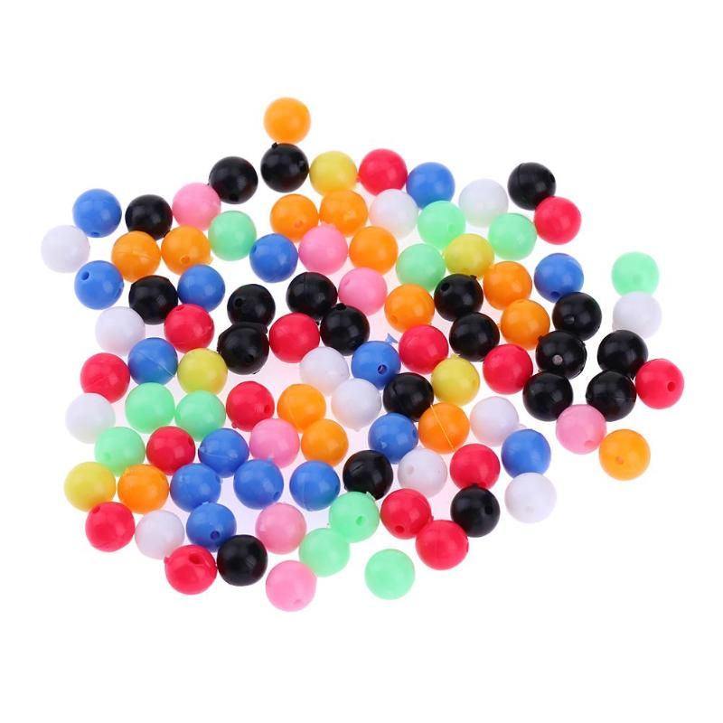 100pcs 5/6/8mm Round Luminous Glow Rig Beads Sea Fishing Lure Floating Float Tackles Mixed Color Stopper Beads Fishing Tool