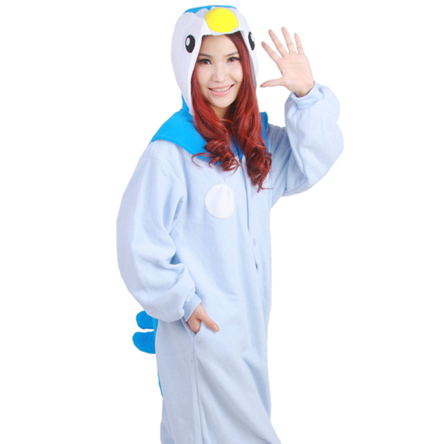 85bc6723f3c7 Funny Costume Pijama Enteros Anime Pokemon Blue Penguin Piplup Cosplay  Pajamas Hoodie Adult Women Fleece Onesie Couple Nightwear