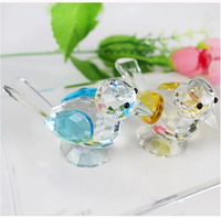 Crystal Quartz Magpie Bird Ornaments Glass Paperweight Feng Shui Animal Figurine Wedding Home Birthday Party