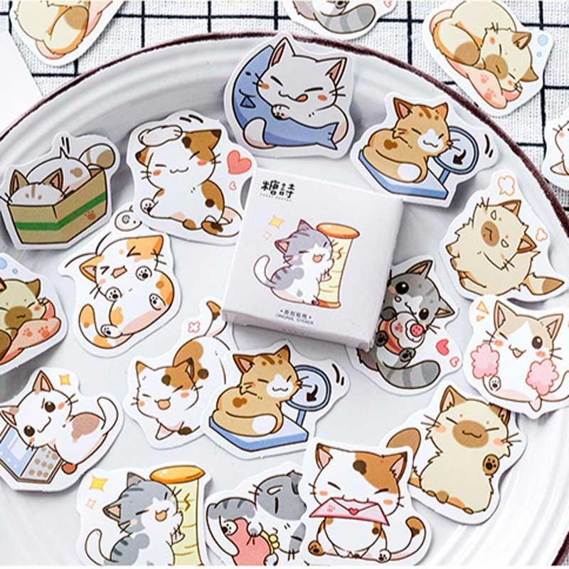 45 Pcs/box Japanese Kawaii Cat Stickers Scrapbooking Decorative DIY Diary Album Planner Sticker Cute Stationery Label Sticke