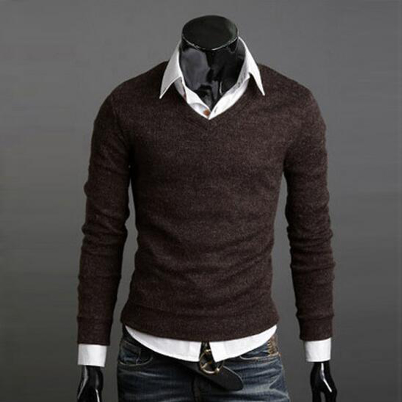 Men Clothes fashion knitted sweater Famous brand Solid color Pullovers Man V-neck sweater casual Slim fit sweaters Super elastic