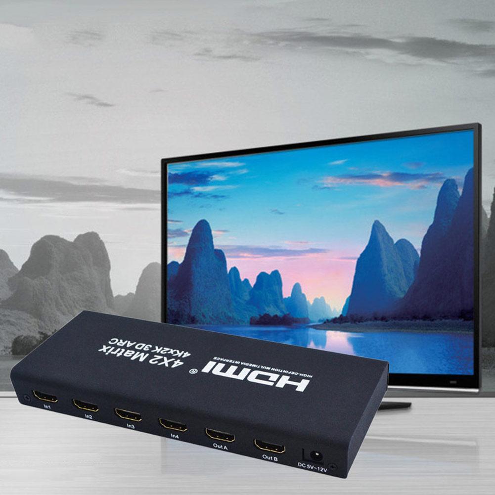 Full HD 4K 1080P HDMI Matrix 4x2 Switch Splitter HIFI Matrix with IR Remote Control Audio Supports HDMI V1.4/3D/4Kx2K