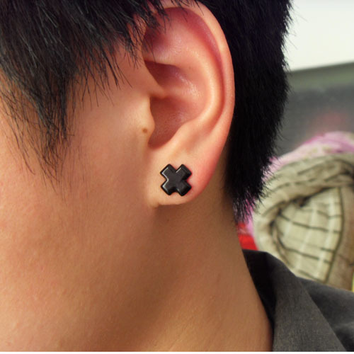 8mm Cross Clip On Magnetic Silicone Stud Earrings No Pierced Lady Men S Male Black