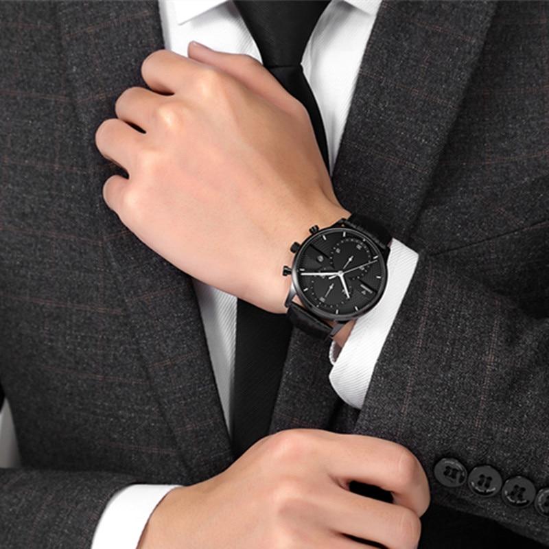 Huippuluokan luksusmerkki CADISEN Miesten urheilukello Aito nahkainen - Miesten kellot - Valokuva 5
