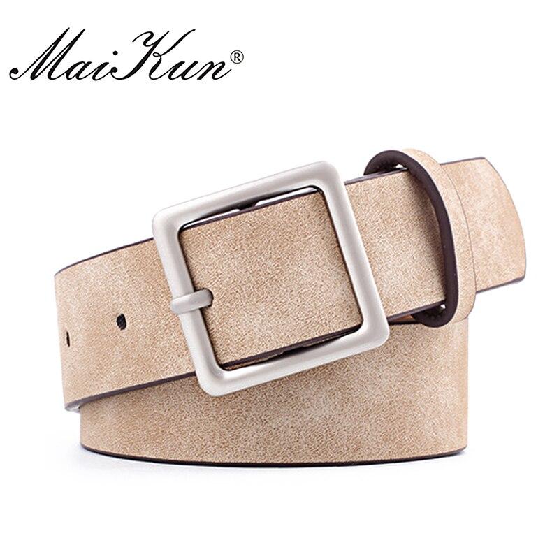 MaiKun Women Leather Belts For Jeans Luxury Brand Designer Belts Female Square Metal Pin Buckle Belt