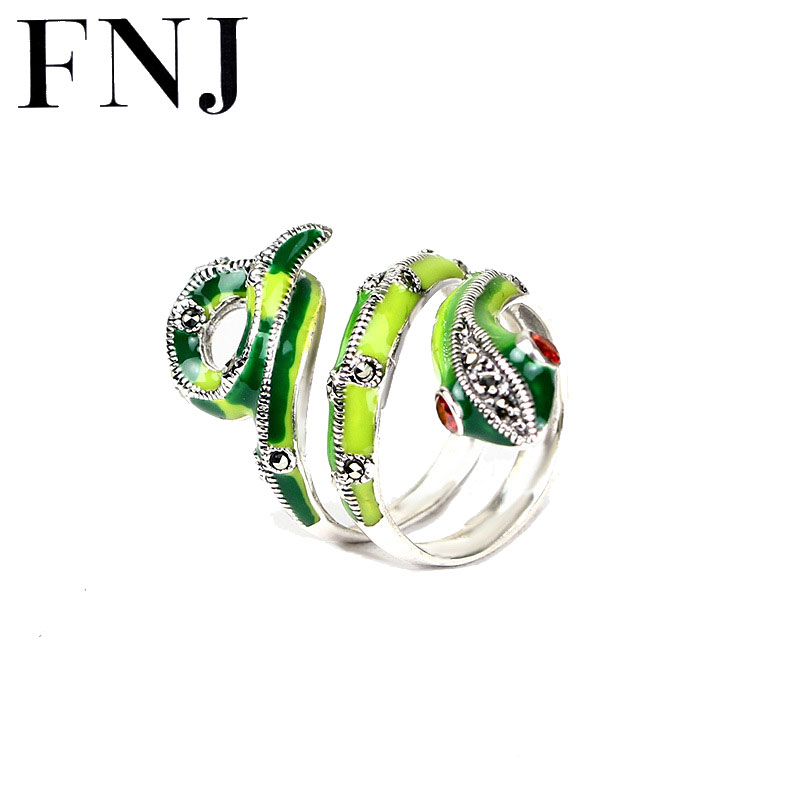 925 Silver Snake Ring Green Animal 100 Pure S925 Sterling Solid Silver Rings for Women Jewelry