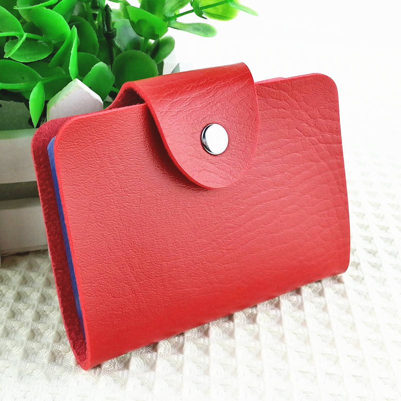 Korea Fashion Business Credit Card Holder Bags Leather Strap Buckle Bank Card Bag 24 Card Case ID Holders Business Card Wallets