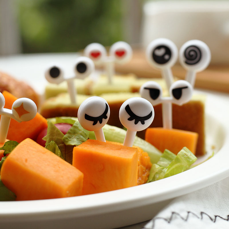 New Creative Funny 10 Pcs/Set Fruit Forks Mini Cartoon Eye Toothpick Children Snack Dessert Cake Fork Bento Food Picks BS
