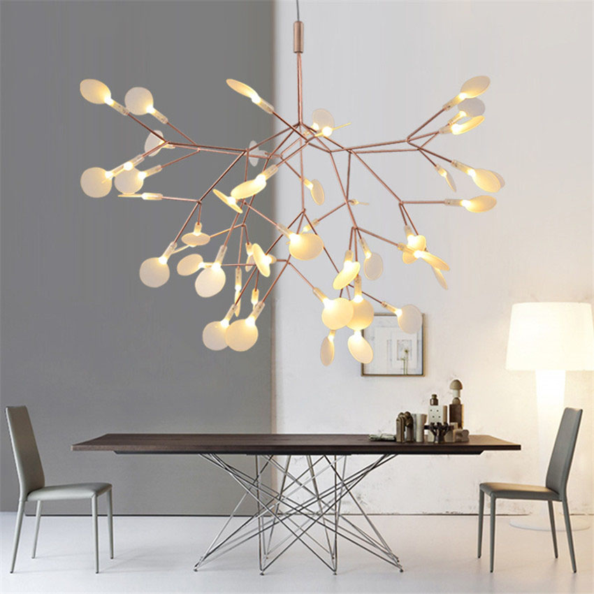 Modern firefly led pendant lamp art creative tree leaf for Luminaire suspendu moderne