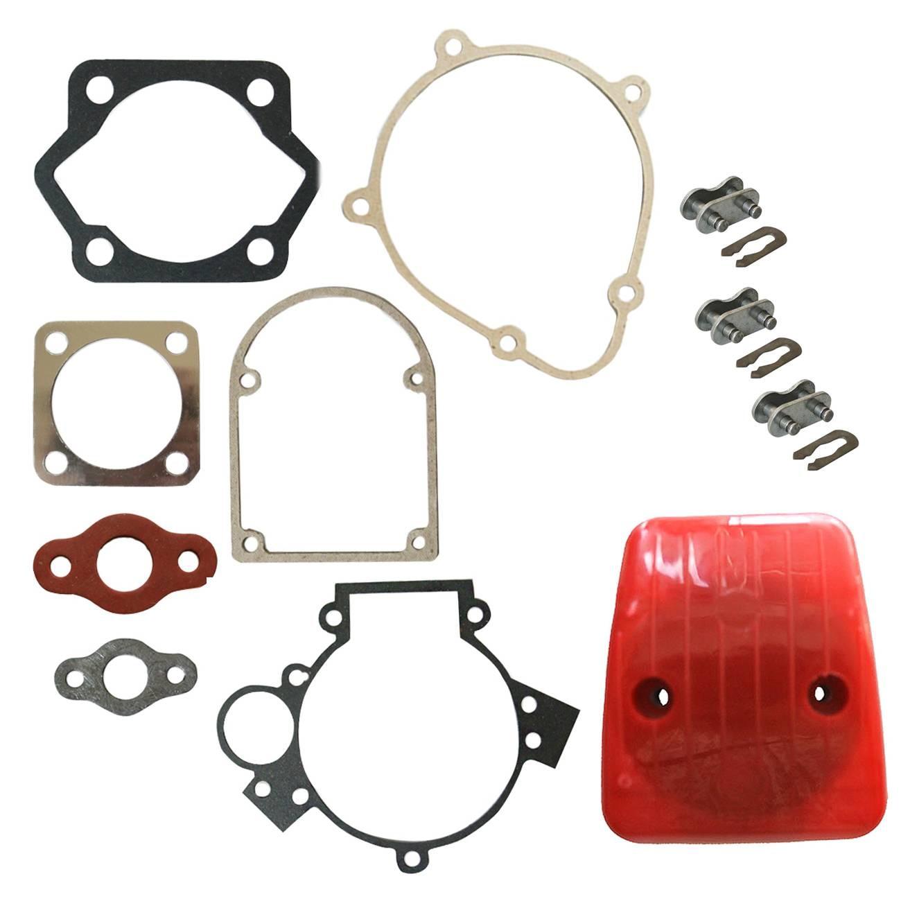 3x Chain <font><b>Master</b></font> Link&Red Carburetor <font><b>Air</b></font> <font><b>Filter</b></font>&Gasket Kit Fit 49cc Motorized Bike