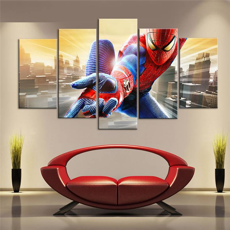 Superior Painting Modern Home Decor Canvas Poster Living Room Modular 5 Superhero  Movie Spiderman Wall Painting Art Pictures 105245 JBO In Painting U0026  Calligraphy ...