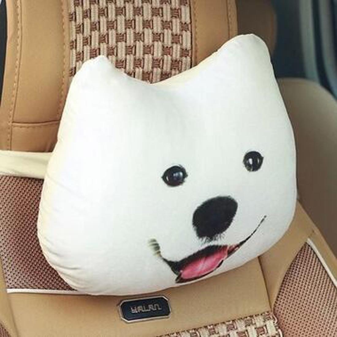 30X25cm Car Styling Headrest Neck Pillow Carbon Breathe Pillow 3D Dog Cat Seat Car Cover Head Neck Cushion Pad Car-styling