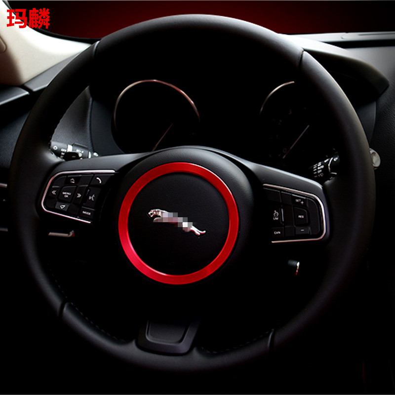ФОТО ABS Chromium Plating The Steering Wheel Decoration Ring Sticker Logo Decals Car Styling Modification For F-pace 2016