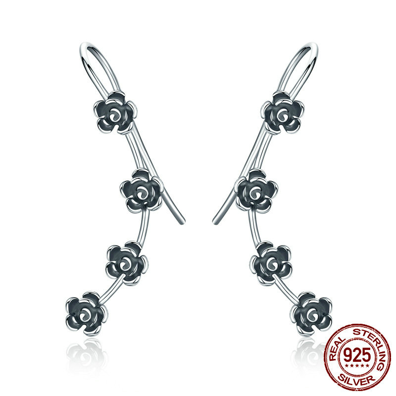 925 Sterling Silver Earrings Women Dazzling Daisy Flowers Long Drop Earrings Female Unique Tibetan Silver 925 Earrings for Women