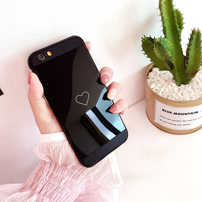 Black Mirror Love Heart Case For iPhone 6 6S 7 8 Plus X Case Soft Silicone Cute Couple Cover For iPhone 7 Case Fashion Designers