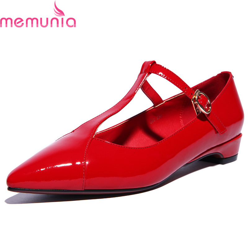 MEMUNIA spring autumn fashion high quality genuine leather casual shoes low heel pointed toe T-strap sexy red ladies shoes memunia spring autumn fashion high