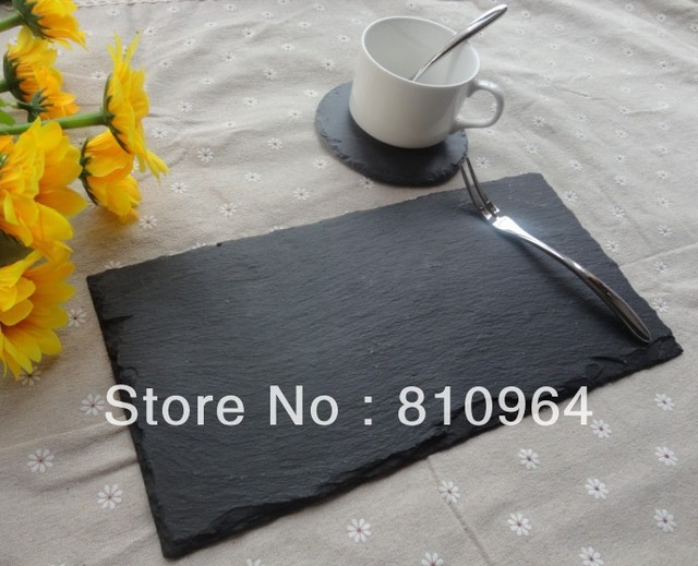 Eco-friendly and healthy slate boards with beautiful ribbon stone material black slate dinner plates & Eco friendly and healthy slate boards with beautiful ribbon stone ...