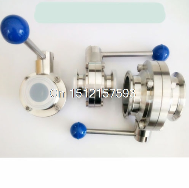 3/4 19mm New Sanitary Butterfly Valve SS304 Tri-Clamp Beer Dairy Product 2 51mm ss304 stainless steel sanitary weld butterfly valve brew beer dairy product