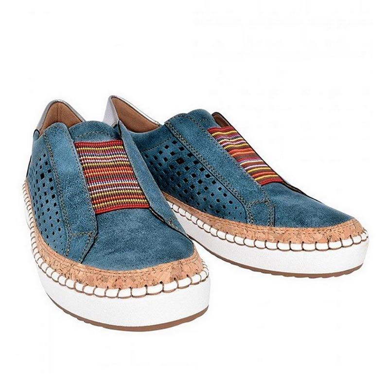 Экспресс-; женская обувь; повседневная обувь из вулканизированной кожи; кроссовки; женские удобные слипоны; лоферы на плоской подошве; zapatos mujer; Прямая поставка - Цвет: blue