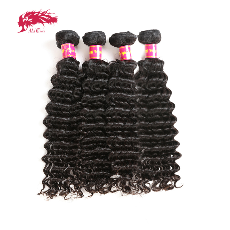 Ali Queen Hair Products 4Pcs 10A Brazilian Deep Wave Hair Bundles 100 Human Hair Weave Free