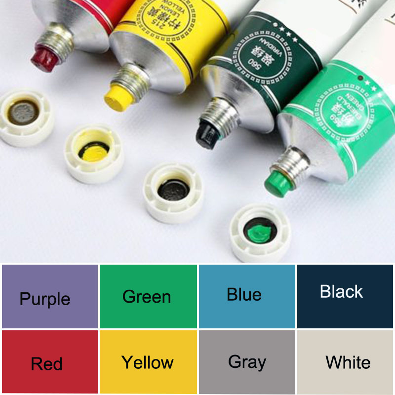 1 * 50ml Oil Paint Gift Artist Watercolor Paints Set Acrylic Draw Pigment With Brush Oil Painting White/Yellow/Red/Purple/Blue