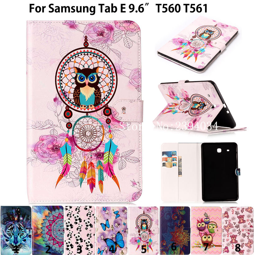 Fashion Animal sFor Samsung Galaxy Tab E 9.6 Case For Samsung Galaxy Tab E T560 SM-T560 T561 Smart Cover Funda PU Leather Cases стоимость