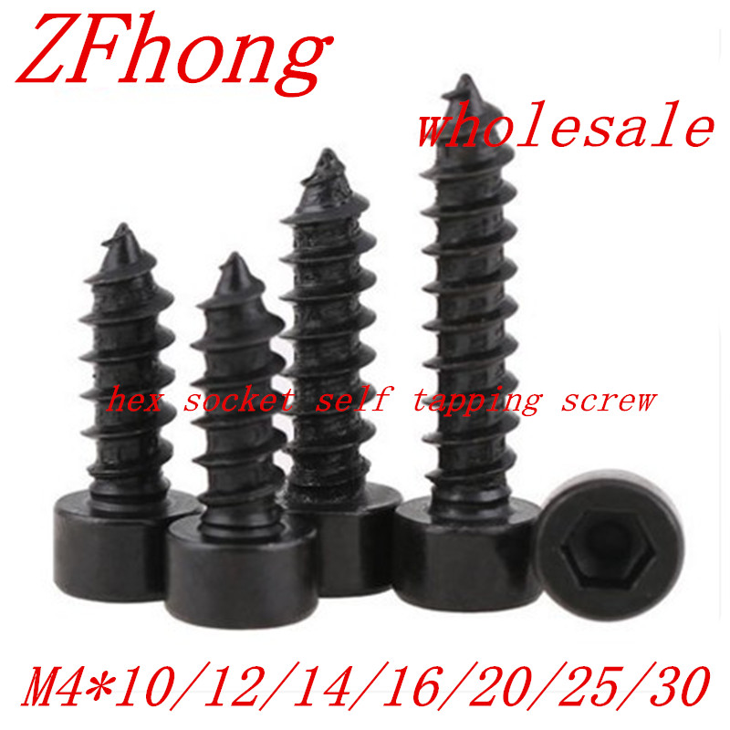 20pcs M4*10/12/16/20/25/30 Black Hexagon Socket Cap Head self tapping screw Model Screw 8 8 hexagon socket screw model self tapping screw speaker speaker m5 10 12 14 16 18 20 25 30 35 40 45 50