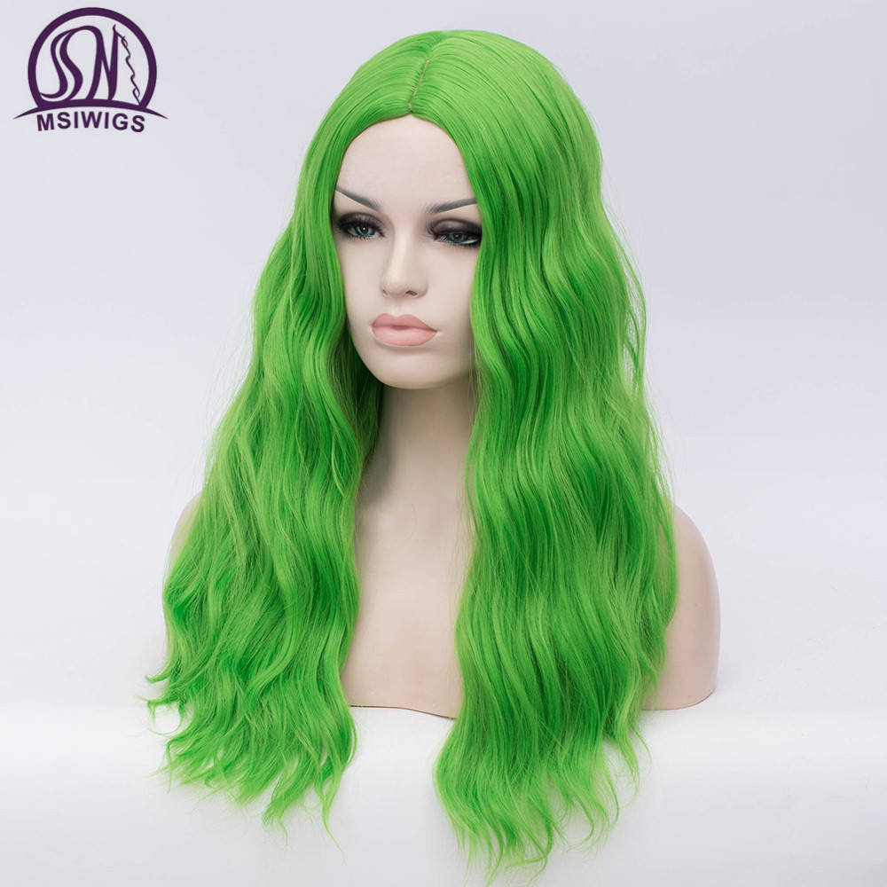 Image 2 - MSIWIGS Wavy Synthetic Wigs for White Black Women Long Green Wig Cosplay Heat Resistant Rose Net Natural Hair with Bangs-in Synthetic None-Lace  Wigs from Hair Extensions & Wigs