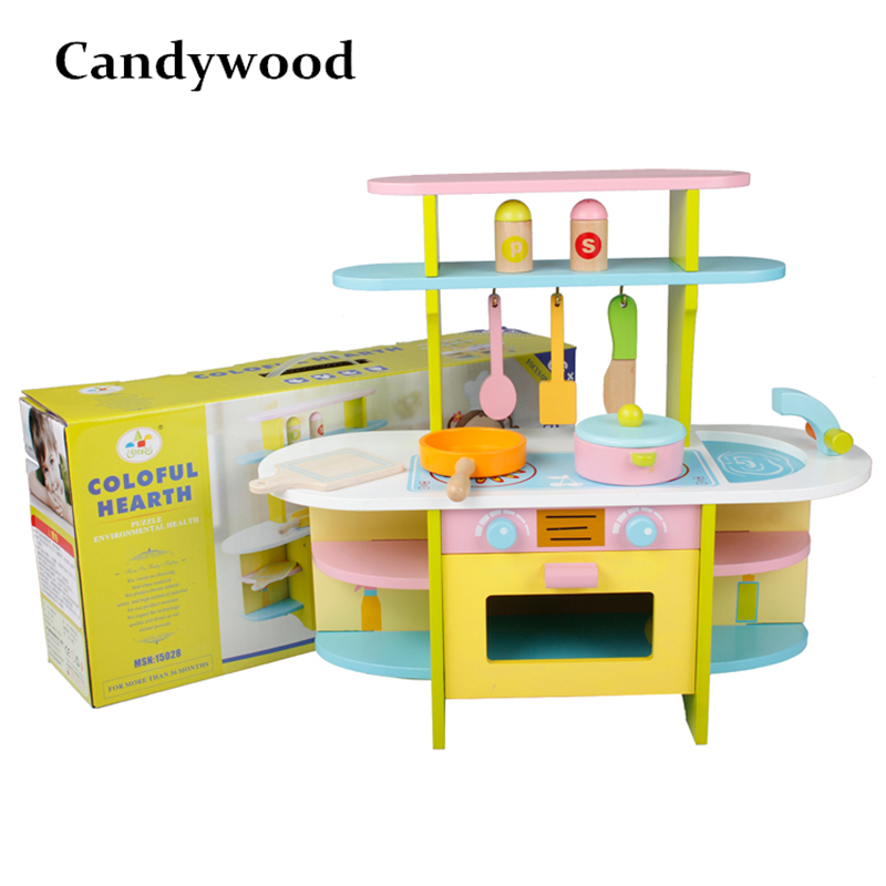 Kids Kitchen Toys For Girls Large Kitchen Colorful Cooktop Cooking Children Pretend Play Toys Educational Toys For Children