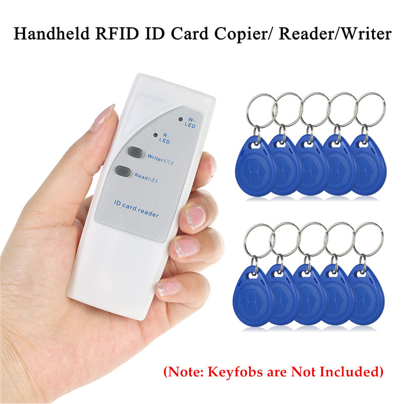 ID Card Reader/Writer 125KHz RFID Cards/Keyfobs Handheld Mini Appearance ABS Operation Range 3cm LED Indicator Buzzer Signal