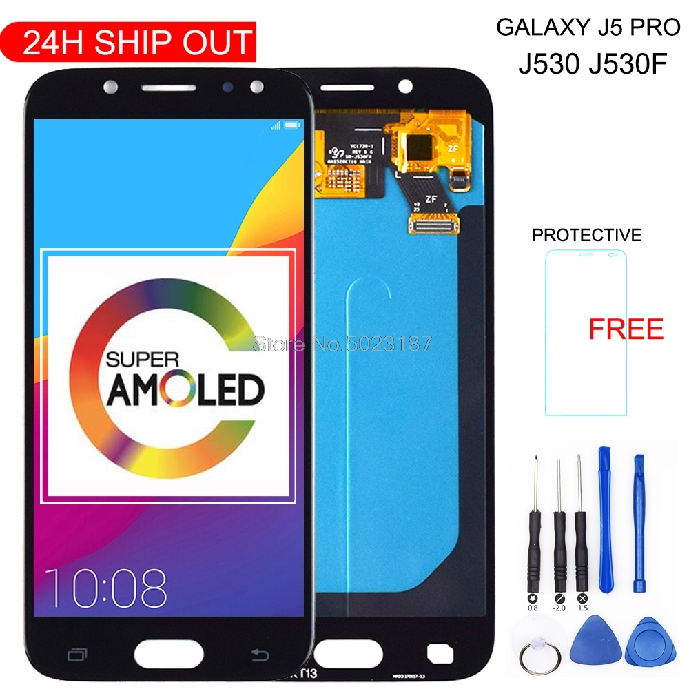 Super AMOLED LCD For <font><b>SAMSUNG</b></font> Galaxy J5 Pro 2017 J530 <font><b>J530F</b></font> J530FM SM-<font><b>J530F</b></font> J530G/<font><b>DS</b></font> LCD Display Touch Screen Digitizer Assembly image