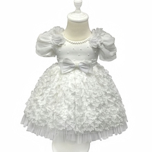 Free Shipping 6m-24m Infant Dresses 2018 New Arrival Toddler Dress with flowers White christening Gown 1 Year baby girl birthday 2017 real adk baby girls christening gown custom toddler infant elegant dresses palace with a hat design handband gift bc12