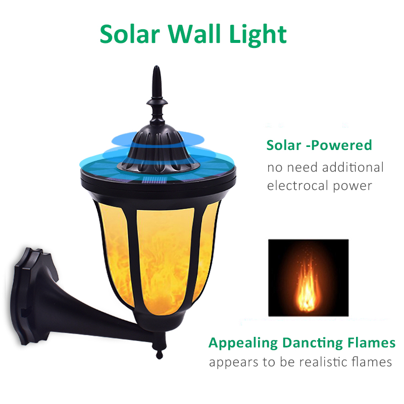 Image 2 - Solar Wall Lights Flickering Flames 96 LED Outdoor Dancing Night Light Waterproof New Lantern Design for Garden Door Patio Yard-in Solar Lamps from Lights & Lighting