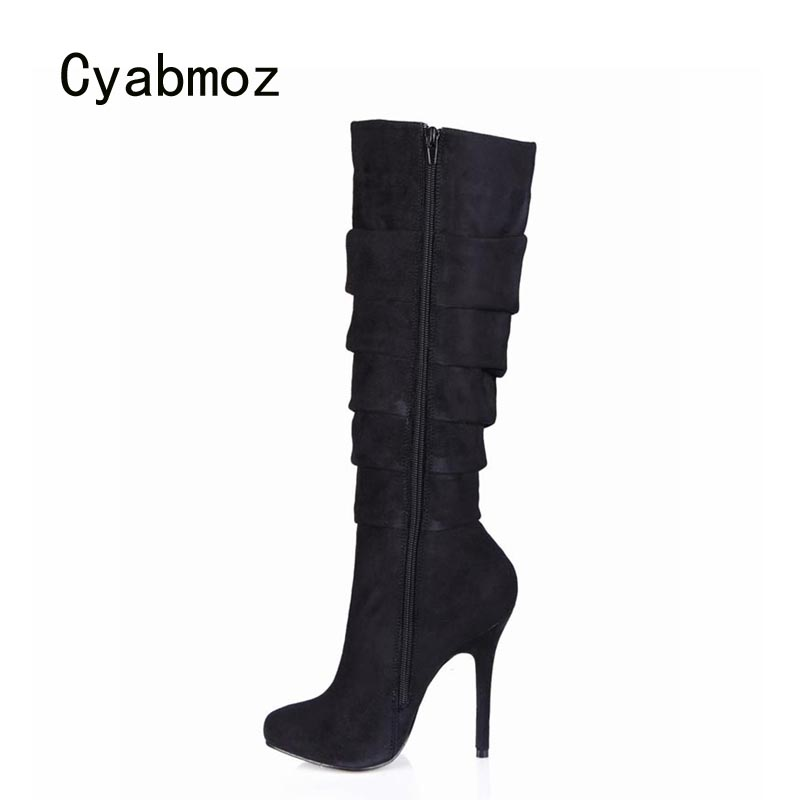Cyabmoz Fashion Women Shoes Woman Knee High Heels Winter Boots Ladies Party Dress Club Shoes Zapatillas Botas Zapatos Mujer mixed colors fashion women boots autumn and winter thick heels knight boots stretch knee high shoes zapatos mujer botas